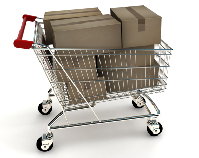 A shopping cart with a stack of generic boxes. 3D rendering with raytraced textures and HDRI lighting.